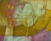 Abstract Painting SPRING BIRD Original Velvet Textured oil pastel art illustration nature pink tree yellow sunny mint green modern