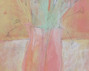 PINK Painting, Floral ART, Flowers in a vase, Textured Original drawing, mint green peach art
