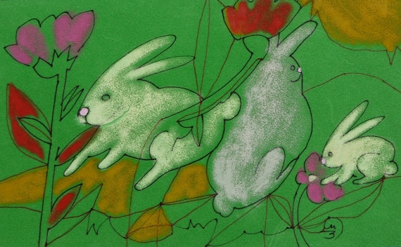 TEXTURED Rabbit Painting - White bunny rabbit - Abstract Oil Pastel Painting - GREEN grass Velvet - Original Ink Drawing
