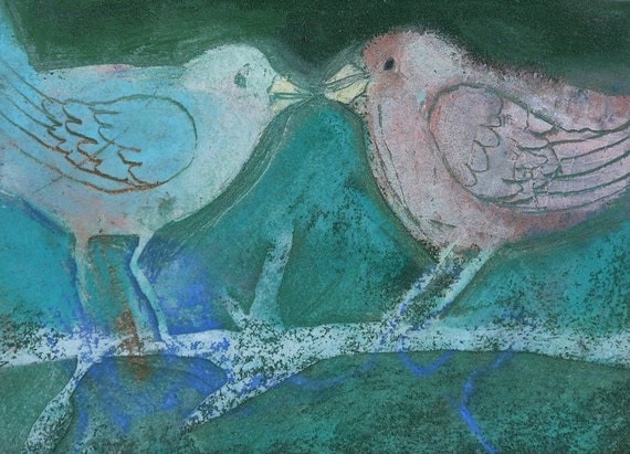 LOVE BIRDS ACEO Art Card, Miniature Art, Original Pastel drawing, Teal Aqua Turquoise Blue painting, Textured art