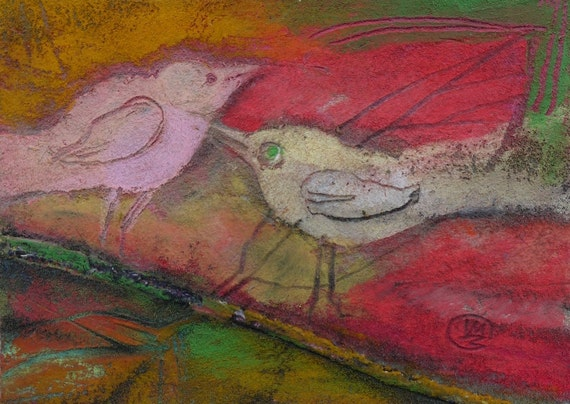Love BIRDS ACEO, Oil PASTEL Painting, Miniature Art, Original drawing, birds on a branch art illustration by Teofana