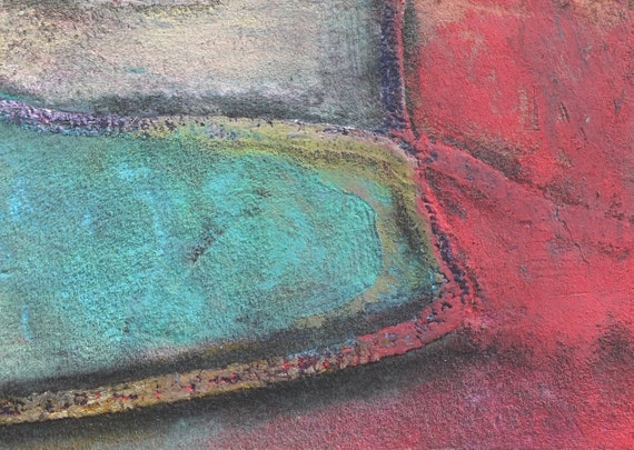 ABSTRACT TEXTURED PAINTING, Original aceo art card, oil pastel painting, Miniature Art by Teofana