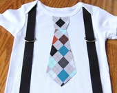 Argyle Print boys Suspenders and Tie onesie or shirt