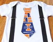 University of Illinois Fighting Illini boys Suspenders and Tie onesie or shirt