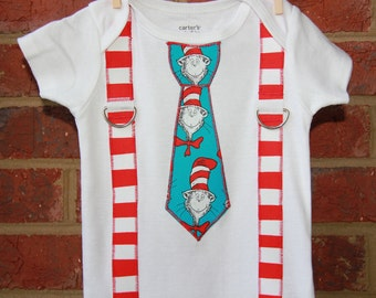 Boys Cat In the Hat  Suspenders Onesie or Shirt - Dr Suess party - 1st Birthday