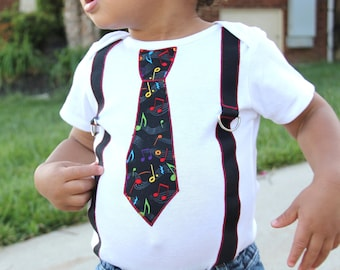 Boys tie and Suspenders Onesie or Shirt with music notes READY TO SHIP
