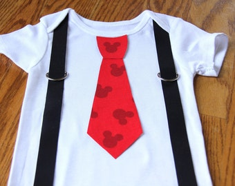 Red Mickey Mouse Tie With Suspenders onesie or shirt
