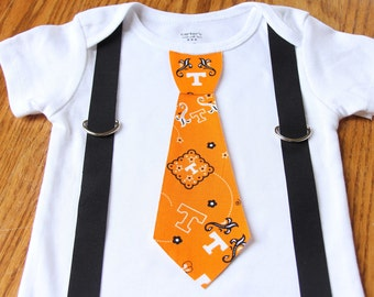 University of Tennessee Volunteers boys Suspenders and Tie onesie or shirt - add leg warmers