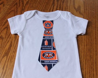 Boys Tie Onesie Or Shirt - Auburn Tigers