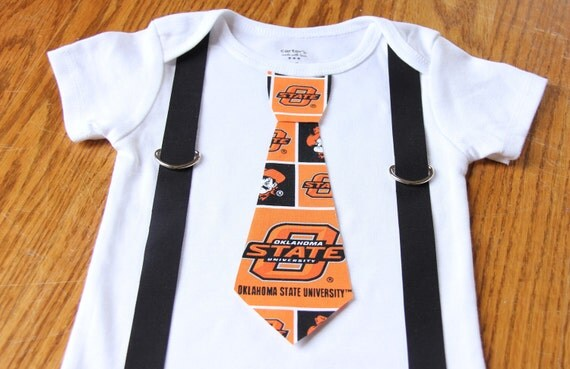Oklahoma State Cowboys boys Suspenders and Tie onesie or shirt - add sports leg warmers