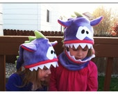 Monster Hat with Cowl...  Super cute for both boys and girls