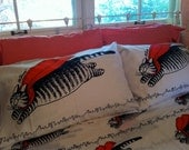 vintage full bed sheet set: kliban cats