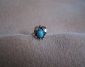 Navajo Sterling Silver Turquoise Nugget and Leaf Ring