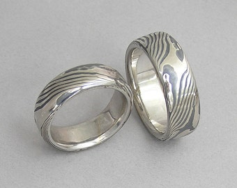 14kt white gold and sterling silver Mokume gane wedding bands.