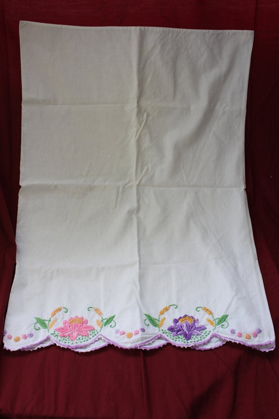 Vintage Embroidered Knotted Pillow Case Beautiful Shabby Romantic  NON PROFIT CHARITY