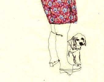 Print of 'Legs & Dog' an embroidered illustration by Sarah Walton