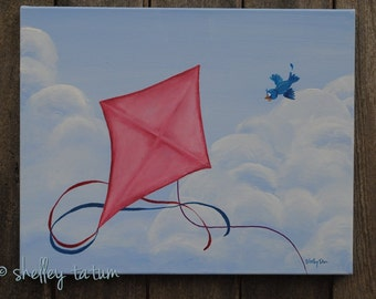 Childrens' Wall Art - Kite Flying, Pink - Original Acrylic