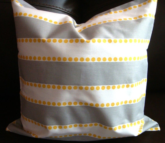 """Decorative Pillow Cover - """"Lulu Twill Storm/Yellow""""- made for 18x18 inch pillows."""