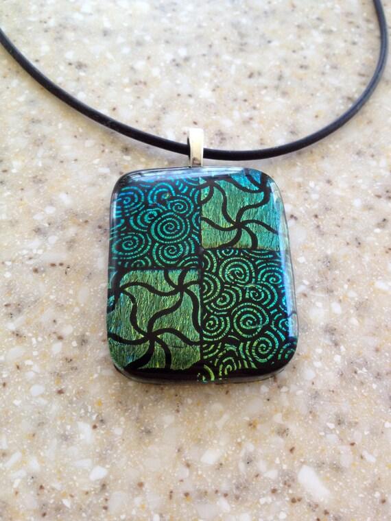 Swirl Grass Green Fused Dichroic Glass Pendant