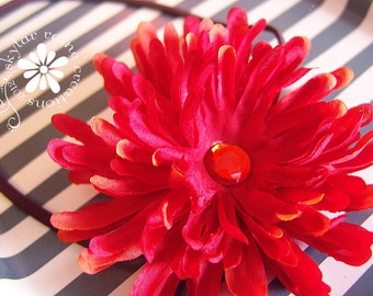 HUGE red orange DAISY flower elastic headband - Fits all girls from babies to adults - Baby Toddler - Kids Girls Headband - Adult Headband