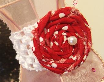Stretch Bracelet Rosette Style - Red Rosette on Crochet Elastic White Band