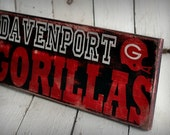 CUSTOM SPORTS SIGN - Hand painted and distressed wood sign - 9 1/4 x 24 - Wall Decor . Football . Basketball . Baseball . Etc.