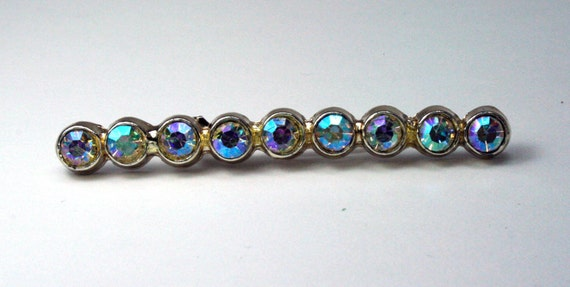Iridescent Rhinestone Brooch Pin - Vintage