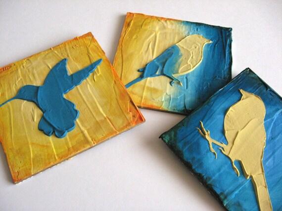 Set of 3 original abstract acrylic bird paintings