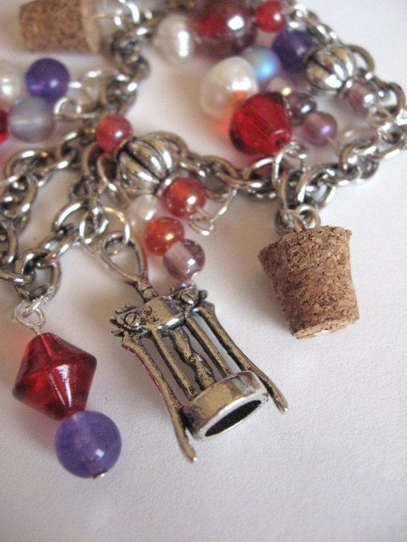 Wine lover themed charm bracelet