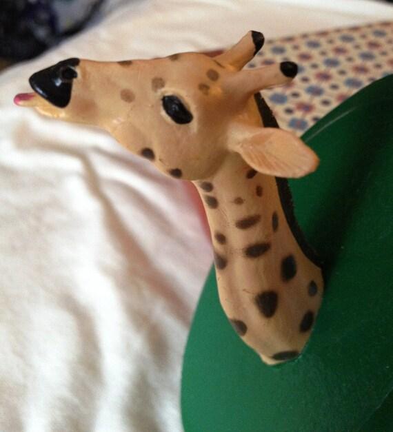 CLOSING SALE 50% OFF Green Toy Giraffe Animal Head Mount - Minitature for Decoration or Dollhouse