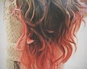 C O R A L I N A  coral pink colored human hair extension/ clip-in hair/ dip dye ombre (2) hair extensions
