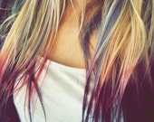 B O L D or pastel colored human hair extension/ clip-in hair/ dip dye ombre (2)Remy hair extensions