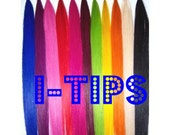 S O L I D  bold or pastel colored i-tip dips/ mini extension/ dip dye/ ombre/  hair extension/ (4)  i-tips/ READY to send