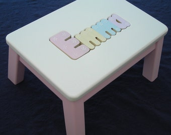 Wooden personalized wooden name puzzle step stool