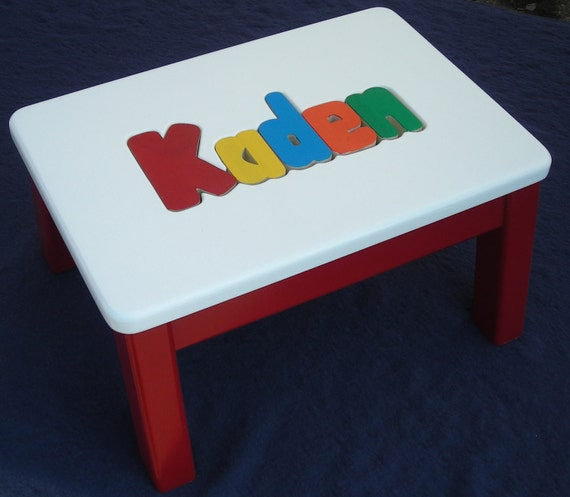 Wooden personalized wooden name puzzle step stool primary colors