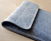 "11 inch Macbook Air Sleeve Grey 100% Wool Felt Case - Velcro 11"" Apple"