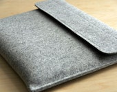 13 inch Macbook Pro Case Grey Wool Felt Laptop Sleeve  - Velcro 13""