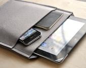 Grey iPad 3 HD ipad 2 sleeve 100% Wool Felt Sleeve - With Pocket