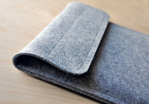 "11 inch Macbook Air Sleeve Grey 100% Wool Felt Case - Velcro 11"" Apple"