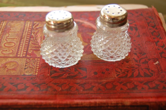 Small vintage cut glass salt and pepper shakers