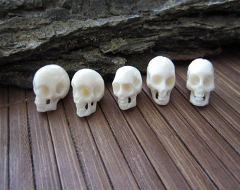 Amazing detail  5 piece Hand Carved buffalo Bone skull beads,  Carved Ox Bone , top to bottom Drilled  B3515