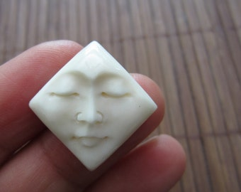 Hand Carved Diamond Shape Face Cabochon, Embellishment, Jewelry making Supplies  B3380