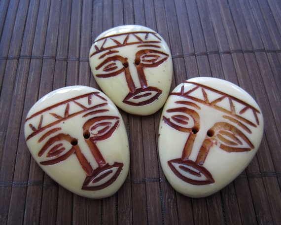 Unique Large  Tribal mask Hand Carve Button ,Two Hole Button,  Scrapbooking , Art Supplies (quantity 3) B467