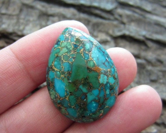 Stunning Tear Drop Turquoise Copper Cabochon, Stone Cabochon, Jewelry Making Supplies B468