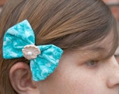 Fabric  Hair Bow Caribbean Blue with Clamshell and Pearl