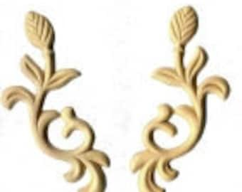Birch Applique - Flowers with Curved Stems (pair)