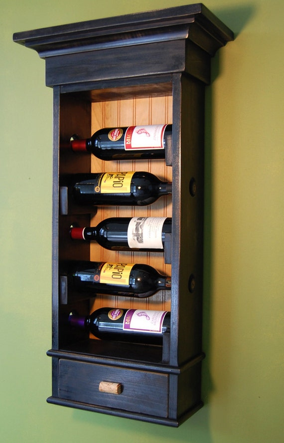 Hanging Wine Rack With Drawer Holds 5 Bottles Of Wine With