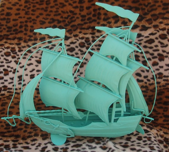 Shabby Chic metal vintage turquoise Ship - upcycled, nautical