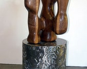 Coral (Version 1) abstract modern freestanding sculpture in carved walnut