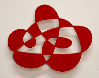 Mother and Child - abstract modern wall sculpture in red